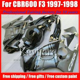 Wholesale Custom Fairings For Motorcycles - ABS low price gray black fairing kit for Honda CBR600 97 98 CBR 600 1997 1998 F3 fairings custom motorcycle parts with 7 gifts Fk40