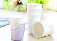 tek kullanımlık plastik bardaklık tutucuları toptan satış-Sıcak Tek kullanımlık bardak tutucu mutfak araçları renkli plastik Kağıt bardak tutucular hediyeler Ücretsiz Kargo