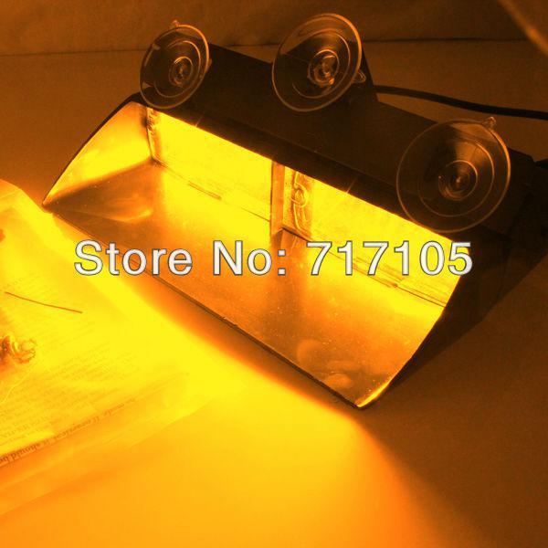 top popular 1set Amber yellow S2 16LED Emergency Warning Strobe Light high power Flash Windshield dash LED Deck Lamp Federal Signal 2021