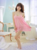Wholesale Babydoll Tops - Sexy babydoll Night Dress sexy Lingerie Sleepwear underwear Sexy Dresses Lace babydoll dress women's Nightwear pink T7752