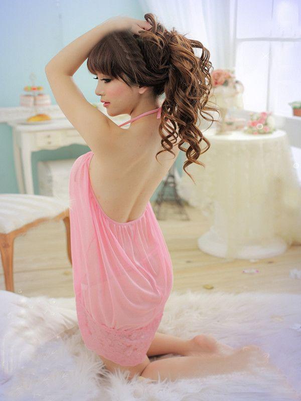 Sexy babydoll nachtjurk sexy lingerie nachtkleding ondergoed sexy jurken kant babydoll jurk dames nachtkleding roze T7752
