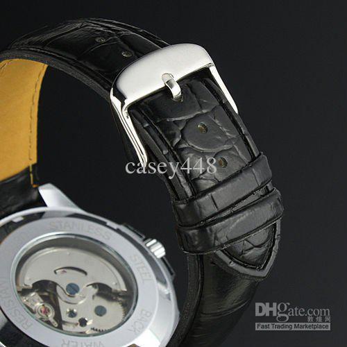 2021 Zwycięzca marki Skórzany automatyczny mechaniczny szkielet chronografu zegarek mężczyźni oglądać najlepszy prezent najwyższej jakości
