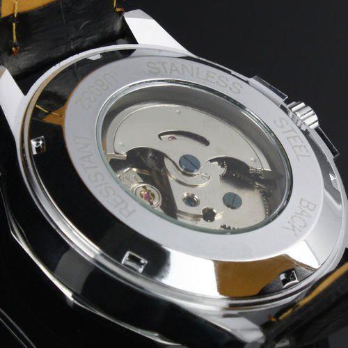 ¡NUEVO! Brand Logo Ganador Ganador Cuero automático Mecánico Cronógrafo Cronógrafo Reloj Hombres Reloj de cuero / DHL Free Ship