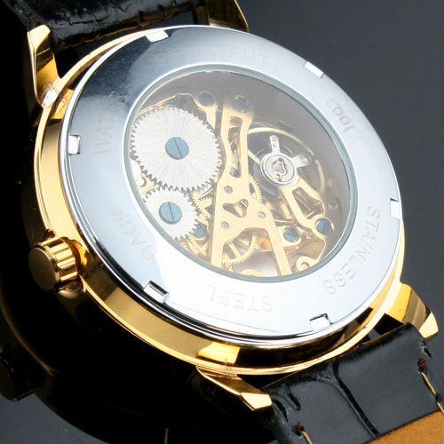 2021 Ankunftsgemälter Herren Golden Case Skeleton Dial Clear Back Fashion Roma Dial Watch