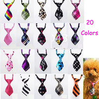 Wholesale Polyester Silk Pet Dog Necktie - New Free Shipping 50pcs Wholesale Mix Color Polyester Silk Pet Dog Necktie Adjustable Handsome Bow Tie Pet Collar Cute Gift