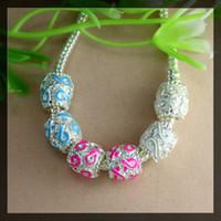 Wholesale Enamel Beads Big Hole - 100pcs jewelry findings silver tone Enamel Ribbon Breast Cancer Awareness Rondelle Big Hole Spacer Beads Fit European making Bracelet