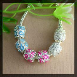 Wholesale Enamel Awareness Ribbons - 100pcs jewelry findings silver tone Enamel Ribbon Breast Cancer Awareness Rondelle Big Hole Spacer Beads Fit European making Bracelet