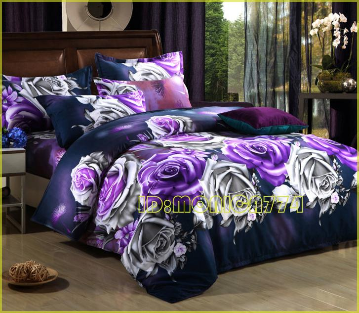 Quality 3d Blue Rose Flower Prints Grey Bedding Sets Quilt