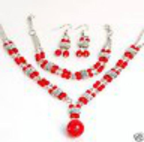 Set Sieraden Nieuw in Tibet Style Tibetan Silver Red Coral Beads NecklaceArarrings