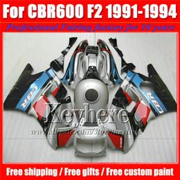 $enCountryForm.capitalKeyWord NZ - High quality fairings kit for Honda CBR 600 91 92 93 94 red blue silver fairing bodywork set CBR600 1991 1992 1993 1994 F2 with 7 gifts Pj11