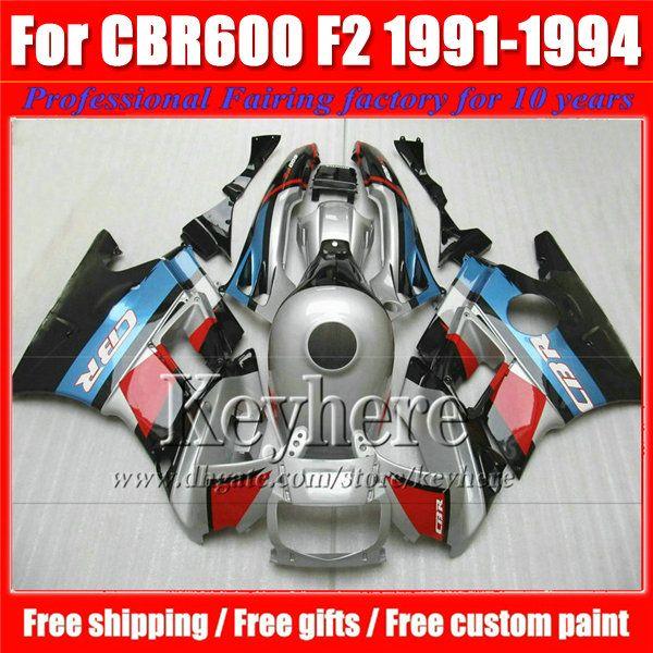 High quality fairings kit for Honda CBR 600 91 92 93 94 red blue silver fairing bodywork set CBR600 1991 1992 1993 1994 F2 with 7 gifts Pj11