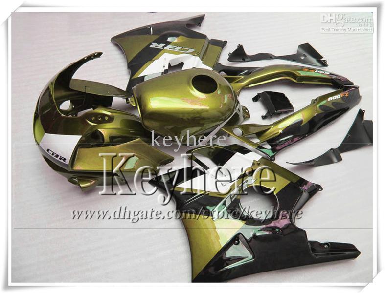 Hochwertiges goldschwarzes Verkleidungskit für Honda CBR 600 91 92 93 94 Verkleidungskarosatz CBR600 1991 1992 1993 1994 F2 mit 7 Geschenken Pj23