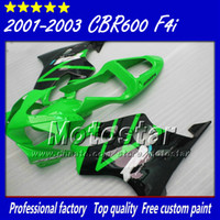 Wholesale Green Black Cbr - 7 Gifts for HONDA CBR600 F4i fairing 2001 2002 2003 CBR600 F4i abs fairings cbr 600 f4i 01 02 03 glossy green with black su15