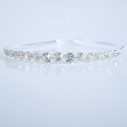Wholesale Diamond Tiara Silver - Fashion Bridal Wedding Tiaras Stunning Fine Comb Rhinestone Headdress Women Girls Headdbands Shiny Hair Jewelry Delicate Accessories Gifts