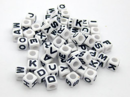 Wholesale Alphabet Letter Cube Acrylic Beads - 500pcs Mixed Alphabet  Letter Acrylic Cube Beads Bracelets Necklace Accessories DIY Birthday Gift 6x6mm free shipping