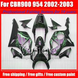 Wholesale Honda Cbr 954 Bodywork - Plastic black green body CBR900RR 954 2002 2003 CBR954RR fairings kit 02 03 CBR 900RR fairing bodywork for Honda with 7 gifts SY11