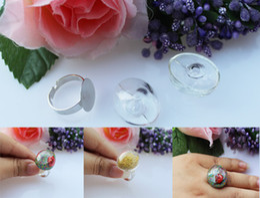 Wholesale Glass Globe Ball Ring Wholesale - 20sets lot 24X20MM Oval Liquid Rings Glass Globe Bubble Vial rings Ball Glass Cover Vials Liquid Metal Mesh Ring