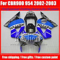 Wholesale Honda Cbr 954 Bodywork - REPSOL blue body kit CBR900RR 954 2002 2003 954RR CBR954RR fairings kit 02 03 CBR 900RR fairing bodywork for Honda with 7gifts SY43