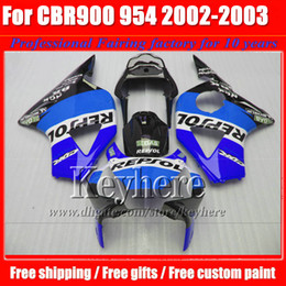 Wholesale Cbr 954rr Fairings Repsol - REPSOL blue body kit CBR900RR 954 2002 2003 954RR CBR954RR fairings kit 02 03 CBR 900RR fairing bodywork for Honda with 7gifts SY43