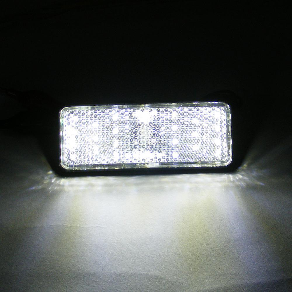 2 * White Rectangle LED Reflectoren Remlicht Universele Motorfiets Rechthoeken Fiets Rechthoeken Fiets Rechthoek Auto Rechthoeken Auto Rectangl
