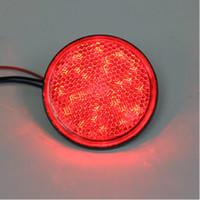 reflector led motocicleta al por mayor-Rojo LED rojo len Reflectores Luz de Freno Redonda Universal Motocicleta Coche Camión