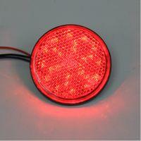 luzes reflector led vermelho venda por atacado-Vermelho LED vermelho len refletores rodada luz de freio universal motocicleta carro caminhão