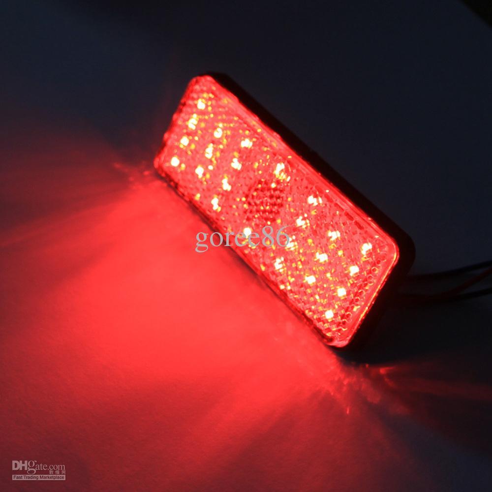 Rectángulo de 2X Rojo LED Reflectores Rectángulo Luz de freno Rectángulo universal de la motocicleta Coche