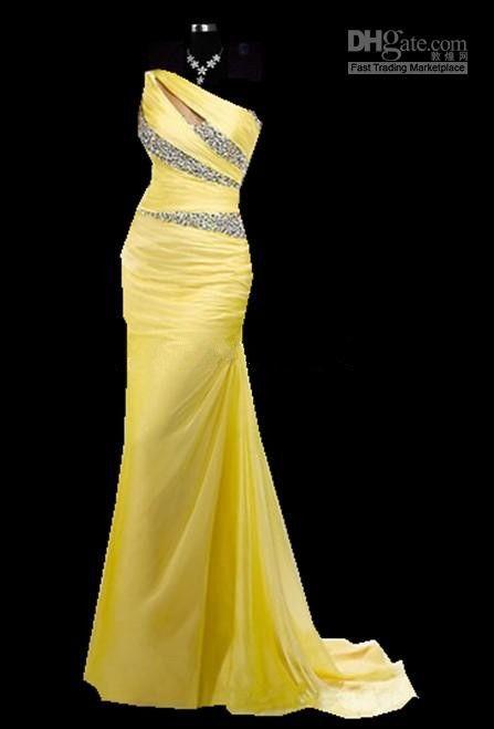 Hot Sale Custom Made Yellow Chiffon Prom Dress Crystals Evening Dress Fast Shipping