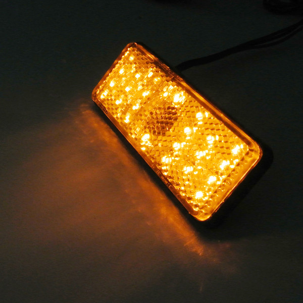 best selling 2* yellow lens amber light LED Rectangle Reflector Turn Signal Light Universal Motorcycle Car Auto