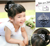 Wholesale China Headdresses - Baby Girls Rhinestone Tiara Headdress Children Hair Jewelry Crown Combs Headear Exquisite Accessories