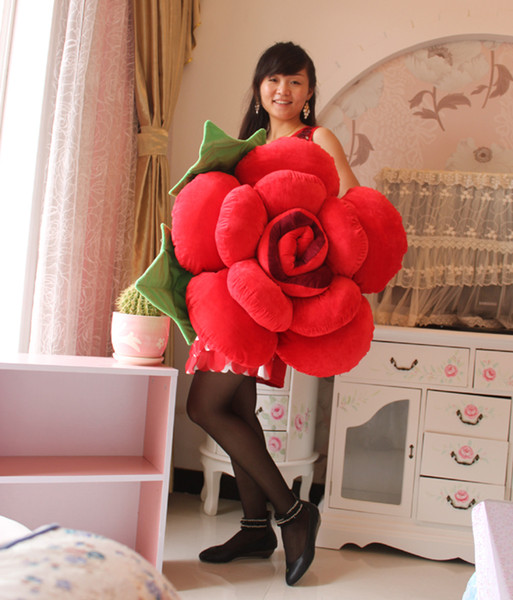 top popular New Arrival 60cm Diameter Wedding Birthday Red Roses Pillow for Marriage Room Decoration Supplies free shipping 2019