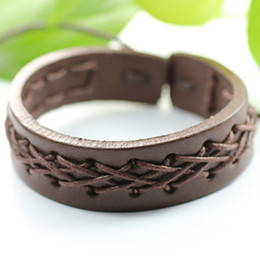 Wholesale Tribal Jewelry For Men - Free shipping Wholesale (7pcs lot) Handmade ethnic tribal genuine adjustable lovely jewelry leather bracelets for man-LZ10