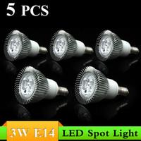 Wholesale 5pc Led Warm - 5pc lot Top Quality!White Warm White AC85-265V 3W E14 LED Spotlight Lamp Bulb Dimmable Spot Light Free Shipping