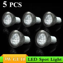 Wholesale 5pc Led Warm - 5pc lot, White Warm White AC85-265V 3W GU10 LED Spotlight Lamp Bulb Dimmable Spot Light Free Shipping