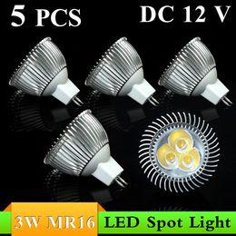 Wholesale 5pc Led Warm - 5pc lot, Top Quality!White Warm White DC12V 3W MR16 LED Spotlight Lamp Bulb Dimmable Spot Light Free Shipping