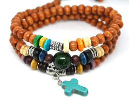 Wholesale Toggle Clasp Link Necklaces - fashion Wooden Cross Beads Bracelets can be used necklace multifunctional handmade jewelry for man or women 10pcs lot P0214