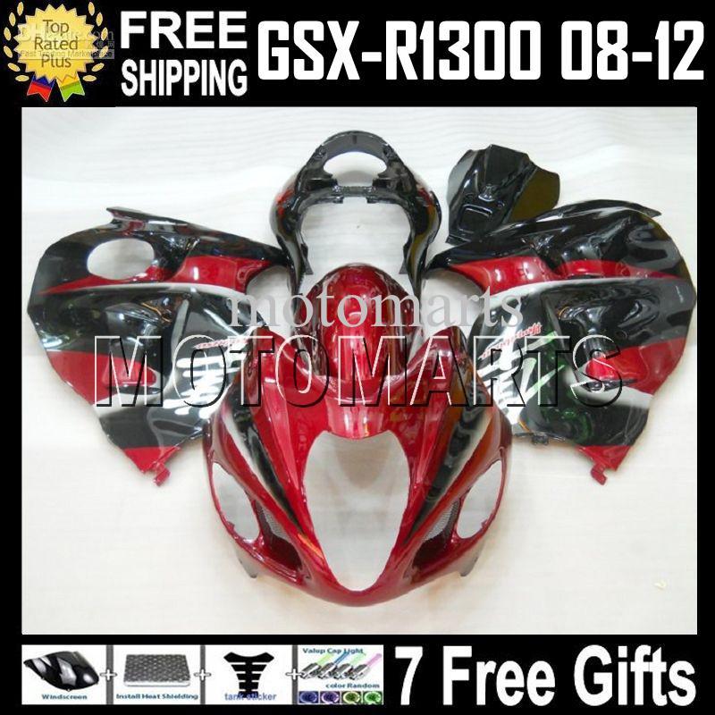 7gifts Para SUZUKI GSXR-1300 Hayabusa GSX-R1300 Vermelho escuro preto 2008-2012 08 09 10 11 12 # 451675 GSXR 1300 GSX R1300 FRESCO Carenagem