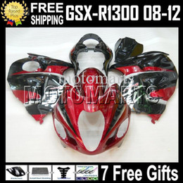 Wholesale Hayabusa Red - 7gifts For SUZUKI Hayabusa GSXR-1300 GSX-R1300 Dark Red black 2008-2012 08 09 10 11 12 #451675 GSXR 1300 GSX R1300 COOL Fairing