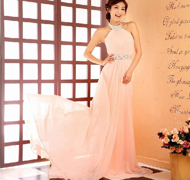 Alta calidad con encanto A-Line Halter Sweep Train con cuentas de cuentas Pink Dama de honor vestidos de fiesta de fiesta de gasa