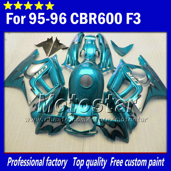 7 regali per carene HONDA CBR600F3 95 96 cbr600 f3 1995 1996 CBR 600 F3 carenature per motociclette tutte lucide blu chiaro