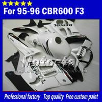 motocicletas carenados blancos al por mayor-Piezas de carenado de la motocicleta para HONDA CBR600F3 95 96 cbr600 f3 1995 1996 CBR 600 F3 carenado blanco brillante negro Repsol