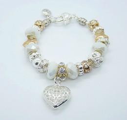 Wholesale Europe Fashion Charm Bead Bracelet - 25pcs lot 7colors Fashion 925 Silver Women's Bracelet Bangles Jewelry Shiny Europe Bead Ball & Lovely Heart Pendant Bracelet Bangles