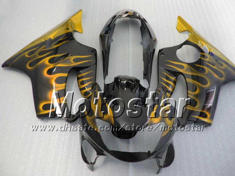 7Regalos para el carenado HONDA CBR 600 1999 CBR600 F4 2000 CBR600F4 99 00 carenado abs glod llama en negro brillante conjunto de carrocería su172