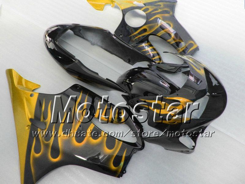 7Geschenke für HONDA CBR 600 Verkleidung 1999 CBR600 F4 2000 CBR600F4 99 00 ABS Verkleidungen glod Flamme in glänzend schwarz Karosserie-Set su172