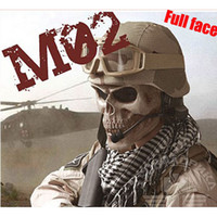 M02 Cacique Skull Gen 2 Full Face Mask Army of Two Halloween Cosplay Masque Squelette Noir Argent-noir Khaki Livraison gratuite