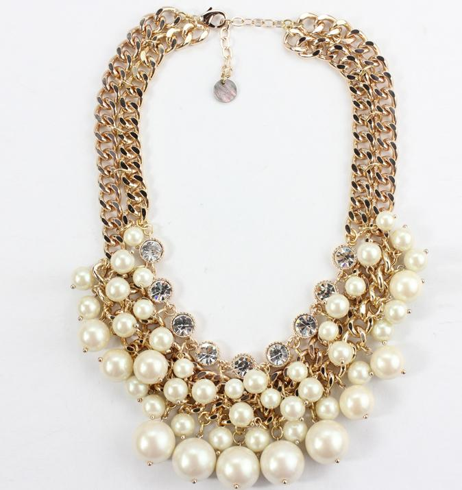2018 Designer Chunky Pearl Necklace Double Gold Chain Luxury Rhinestone Choker Statement Costume Jewelry Bridesmaid Accessories Bn290 From Xhmly999 ...  sc 1 st  DHgate.com & 2018 Designer Chunky Pearl Necklace Double Gold Chain Luxury ...