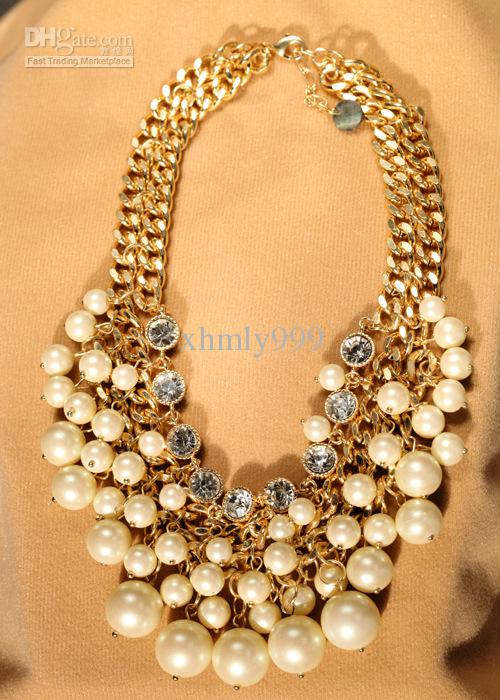 2018 Designer Chunky Pearl Necklace Double Gold Chain Luxury