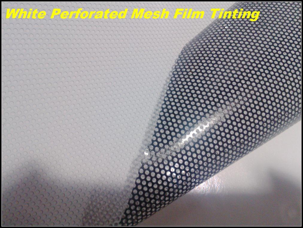 Einseitige Vision weiß selbstklebende Paintable perforierte Fensterfolie Mesh Film, Scheinwerfer 1.07x50meters Tönung Kostenloser Versand
