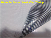 Wholesale adhesive pvc film resale online - ONE WAY VISION White Contravision Printable Vinyl Perforated Window Film Mesh Film self adhesive Stickers x meters