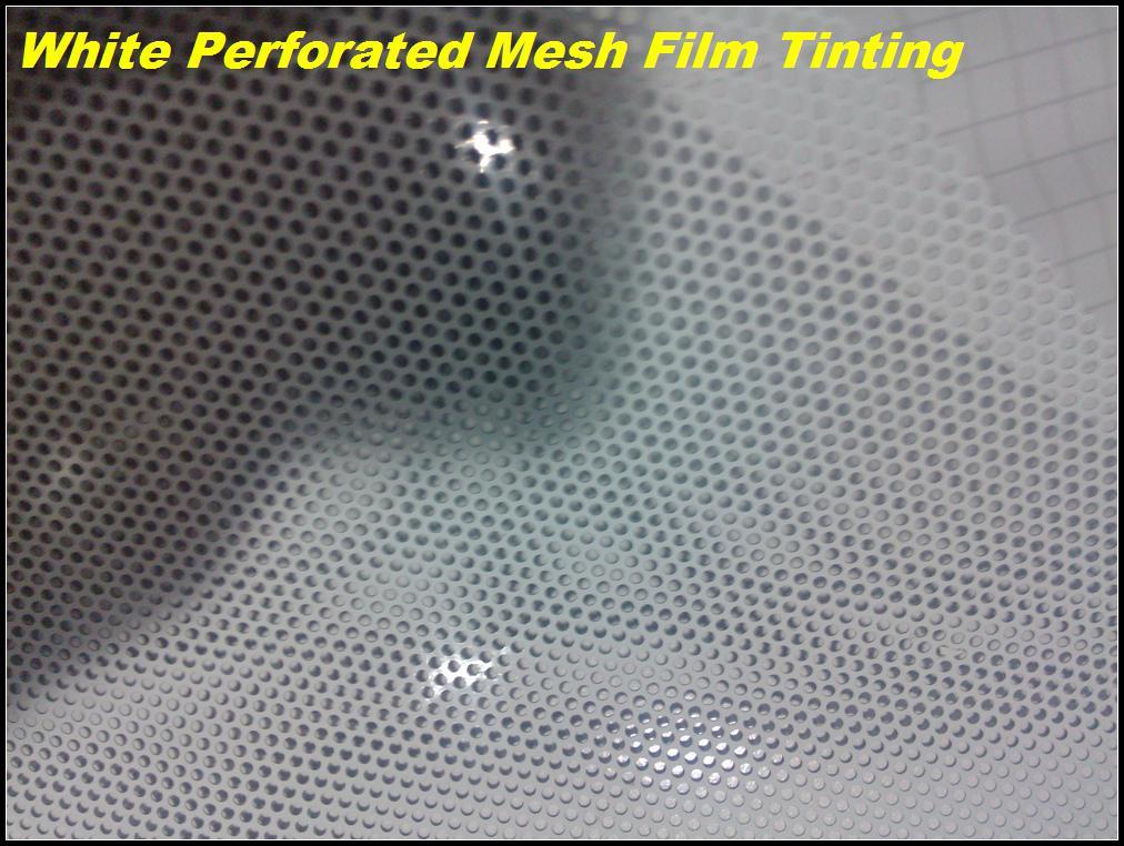 Eenrichtingsvisie wit zelfklevend overschilderbaar geperforeerd venster film mesh film, koplamp tinting 1.07x50meters gratis verzending